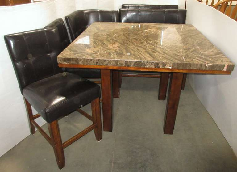 Marble Top Kitchen Table with (2) Benches, (2) Chairs, and Corner Seat, Hardware Included with Table Top