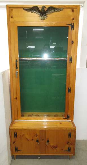Wood Gun Cabinet with Glass Door, Holds Six Guns, Has Lower Two-Door Storage Area with a Hanging Small Drawer, Metal Eagle on Top, Comes with (3) Keys
