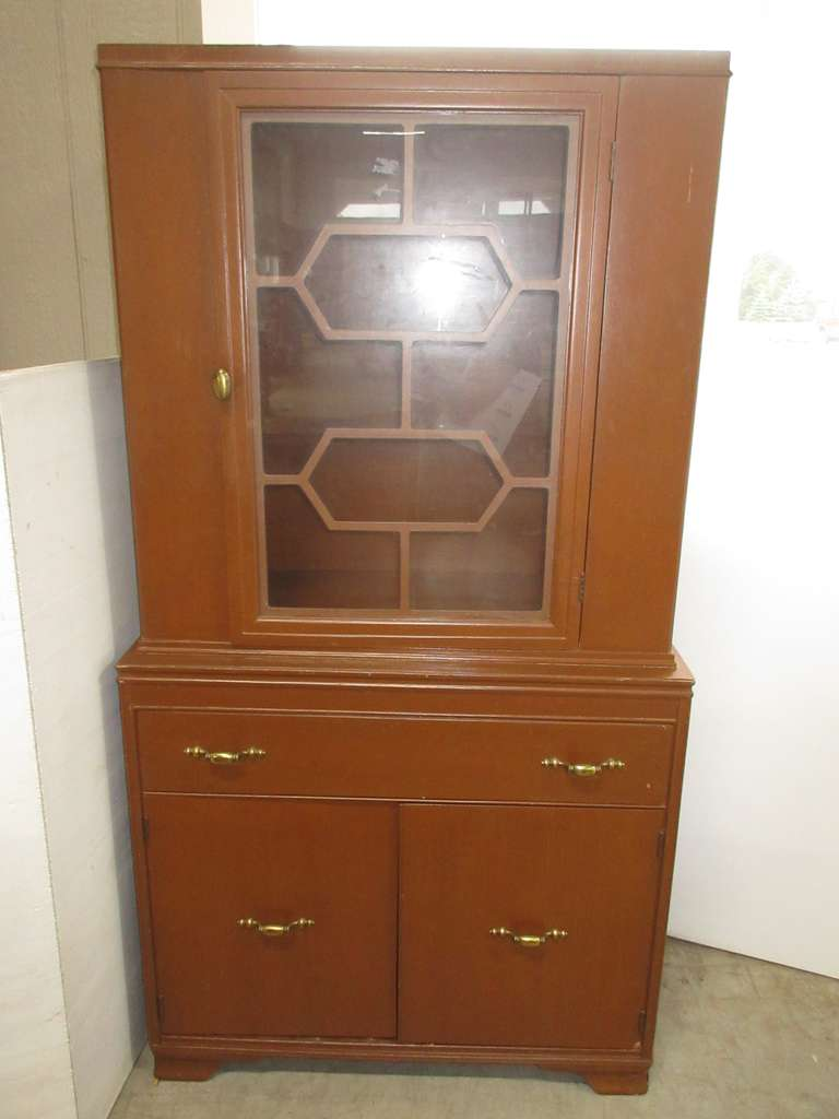 Mid-Century Solid Wooden Hutch