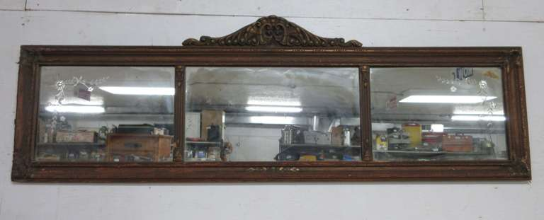 Victorian Wall Hanging Mirror with Etched Glass