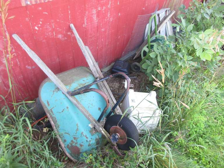 Large Assorted Lot, Including:  Wheel Barrow, Garden Hose and Reel, Car Roof Cargo Carrier, and More