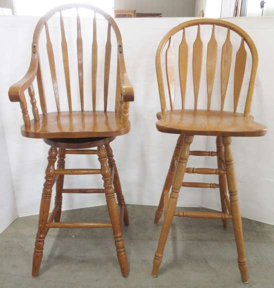 Pair of High Back Oak 360° Rotating Bar Stools with Arm Rests and Foot Rests, Matches Lot No. 12