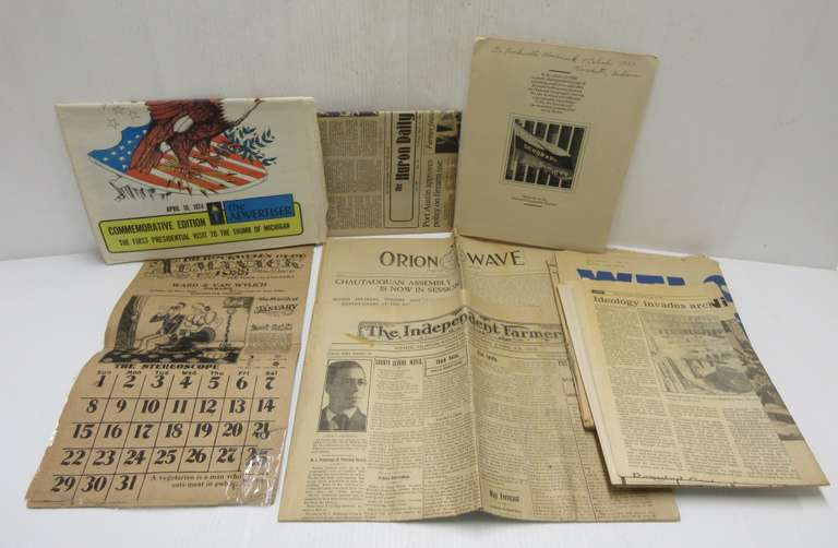 1933 Dr. Rockwell's Almanack and Calendar (Some Damage), 1910 Kinde, MI 'Independent Farmer', 1901 'Orion Wave' and More