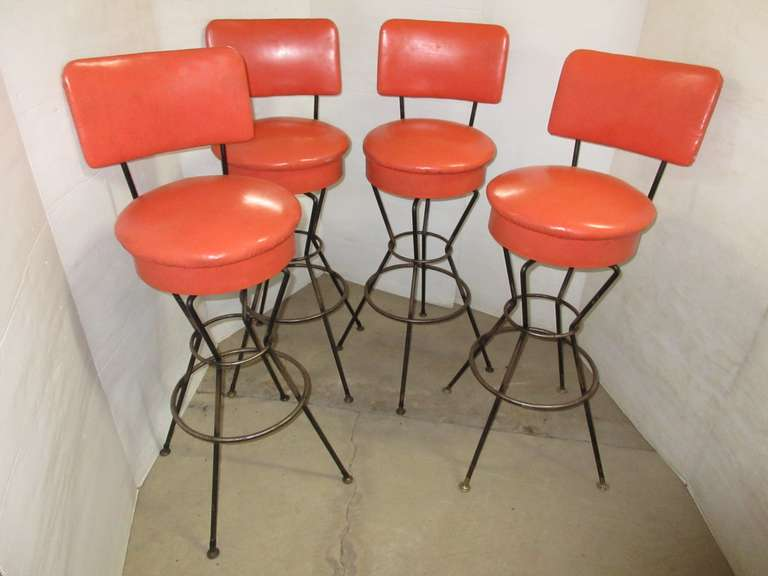(4) Orange Retro Looking Bar Stools
