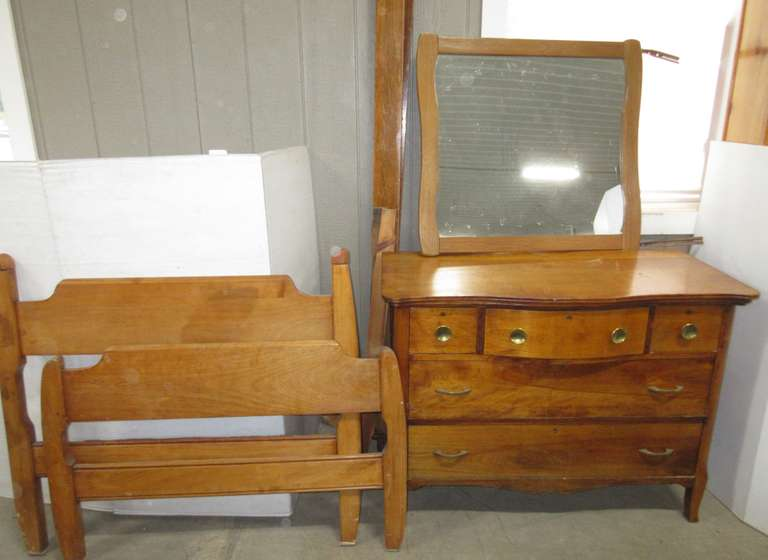 "Antique Bedroom Set, Includes: Dresser with Five Dovetail Drawers, Top Middle Drawer is Curved Outward, Drawers Move Well; Mirror- 30""W x 33 1/2""H; Twin Size Bed Headboard, 43""W x 38""H; Footboard, 43""W x 28""H; Side Rails and Mattress Slat Boards"