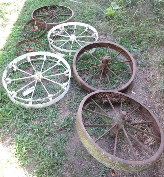 "Assortment of (7) Old Steel Wheels, Largest- 30""Dia"