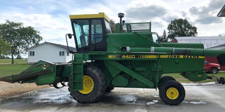John Deere 4420 Combine, (Less than 500 Hours on the Rebuilt Engine - 4600 Hours on the Machine); John Deere 443 Corn Head with 2- Stalk Stompers; John Deere 216 Flex Head, All New Plastic Teeth Last Fall, Stainless Pan and Poly Bottom
