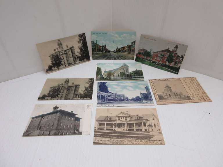 (6) Bad Axe Post Cards, (2) Cass City, and Elkton, Post Marked 1907-1909