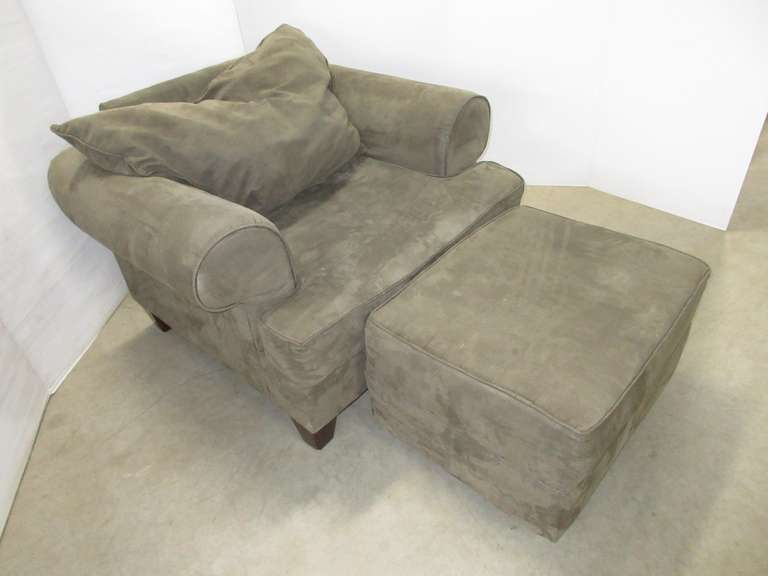 Extra Deep Gray Suede Sitting Chair with Matching Ottoman on Wheels