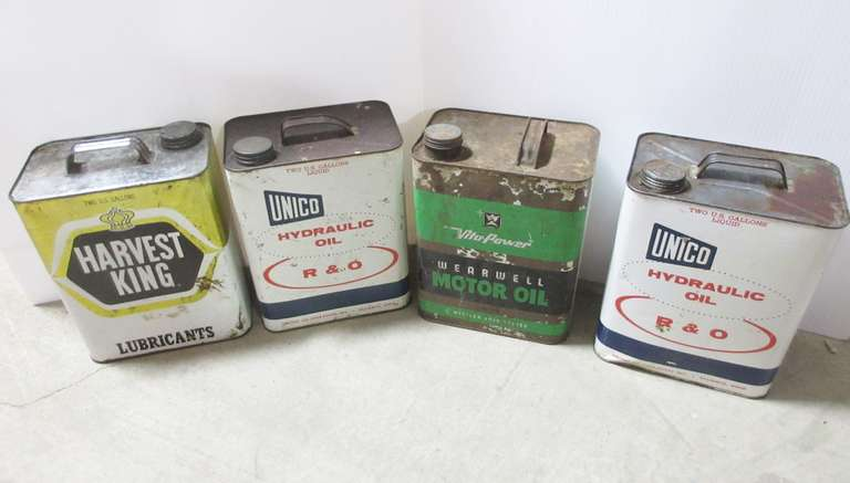 (4) Old Two-Gallon Oil Cans