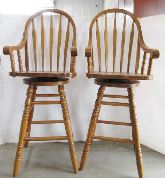 Pair of High Back Oak 360° Rotating Bar Stools with Arm Rests and Foot Rests, Matches Lot No. 13