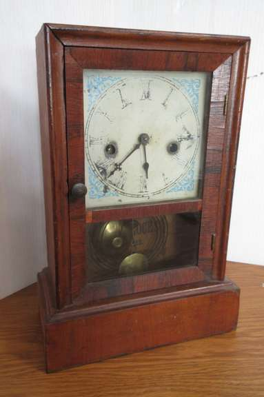 "Antique Waterbury Shelf Clock with Key, Time and Strike, 9""W x 13""H, Works"