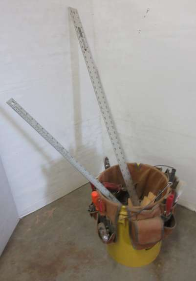5 Gallon Bucket w/ tool Belt and Assortment of Tools