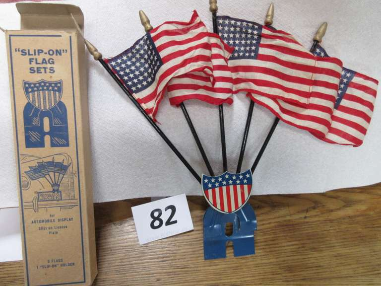 "Slip-On Flag Set in Original Box, Used on License Plates, Box is 11"" x 2 3/4"", Excellent Condition"