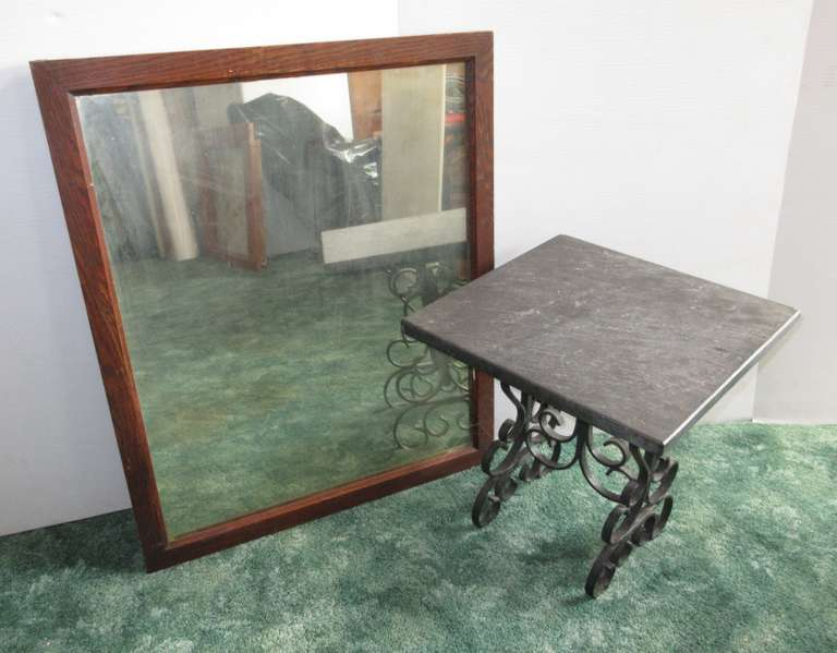 "22"" x 27"" Oak Mirror and Sleight Top with Wrought Iron Base Plant Stand, Top is 14"" x 14"" x 15""H,"