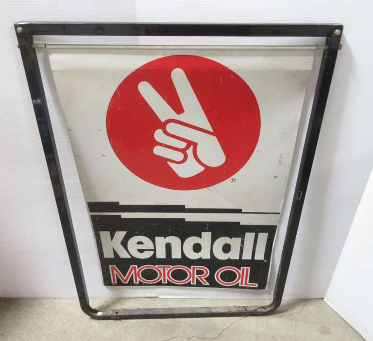 Old Kendall Motor Oil Double-Sided Metal Sign on Bracket