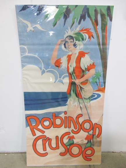Original 1930s Robinson Crusoe Pantomime Theatre Three-Sheet Lobby Poster