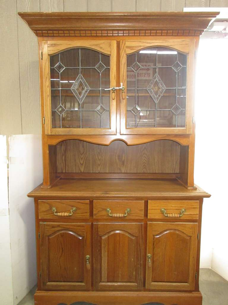 Two-Piece Wooden Lighted Hutch with Glass Doors