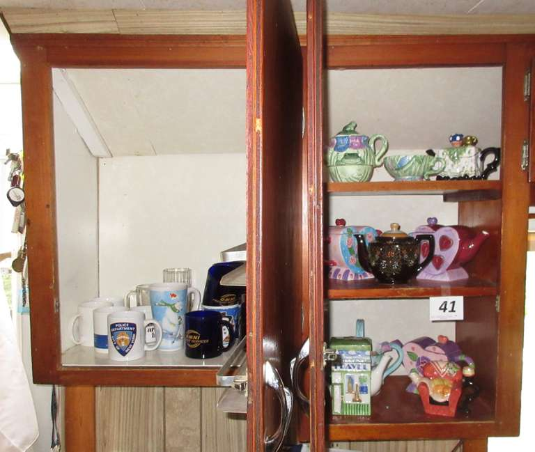 (2) Cupboards Full, Include:  Teapots and Cups