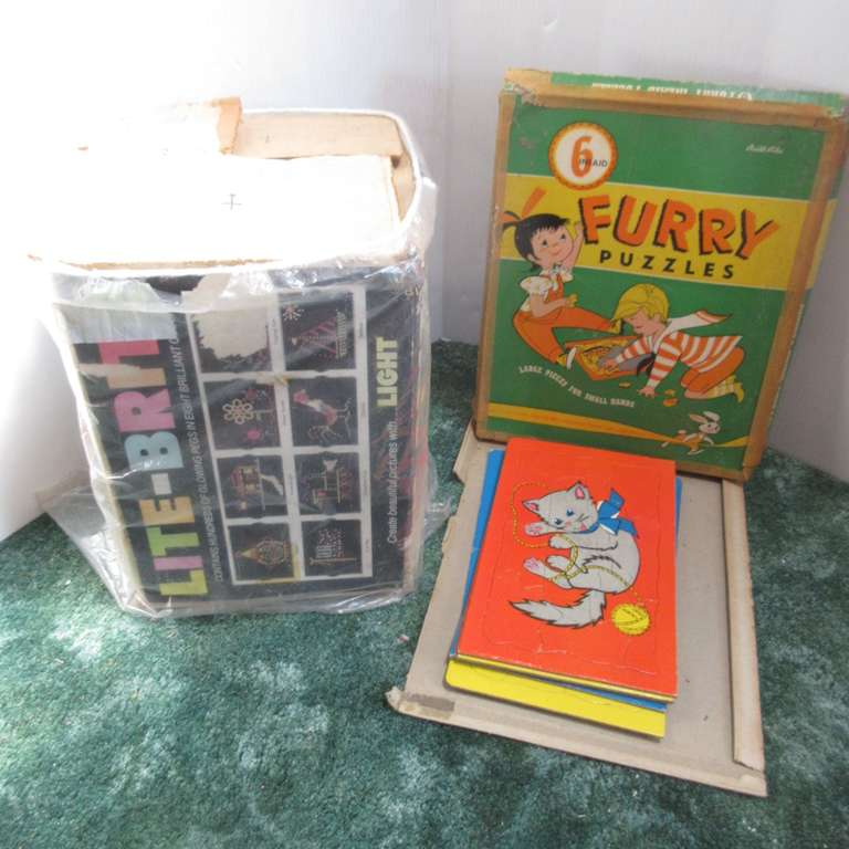Old Built-Rite (6) Furry Puzzles in Original Box, (Puzzles are Good, Box is As Is), and Lite Brite
