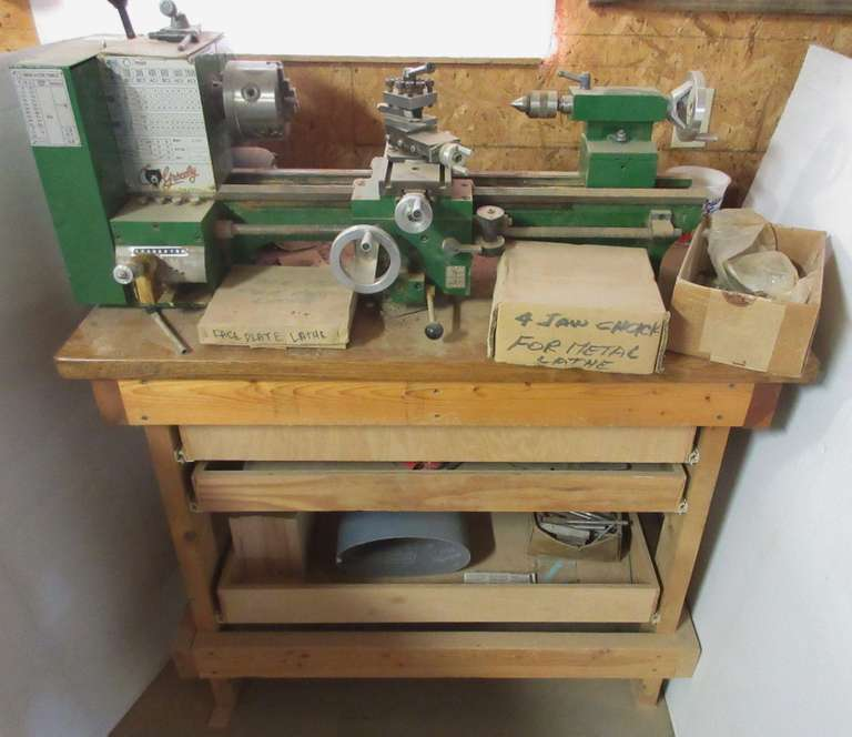 "Grizzly 8 x 18"" Metal Lathe, Model No G1550, On Shop Built Wood Table, Comes with 3 Jaw & 4 Jaw Chucks and Accessories"