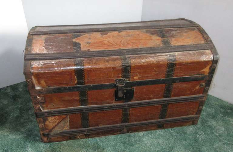 "Antique Humpback Trunk with Tray, 30""W x 16""D x 18""H"
