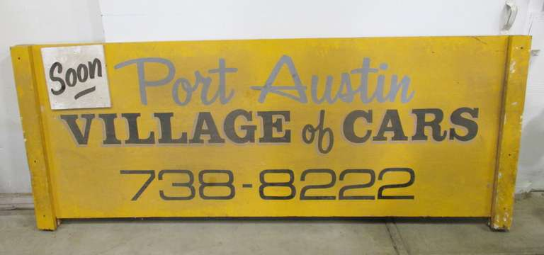Double-Sided Port Austin Village of Cars Wooden Sign with Wooden Post Sign Holder