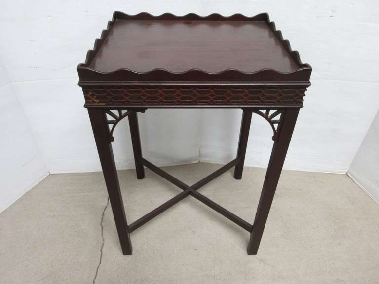 Antique Rectangle Wood Table with Scalloped Edge Top and Ornate Relief