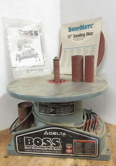 "Delta Bench Oscillating Spindle Sander with Extras, 18""Dia Cast Iron Table, 60 Strokes/Minute, Full 7/8"" Stroke, 1/2"" to 3"" Drums"