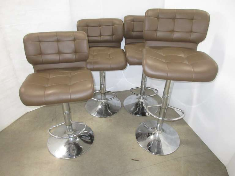 Set of (4) Brown Swivel Bar Stools, Raise Up and Down