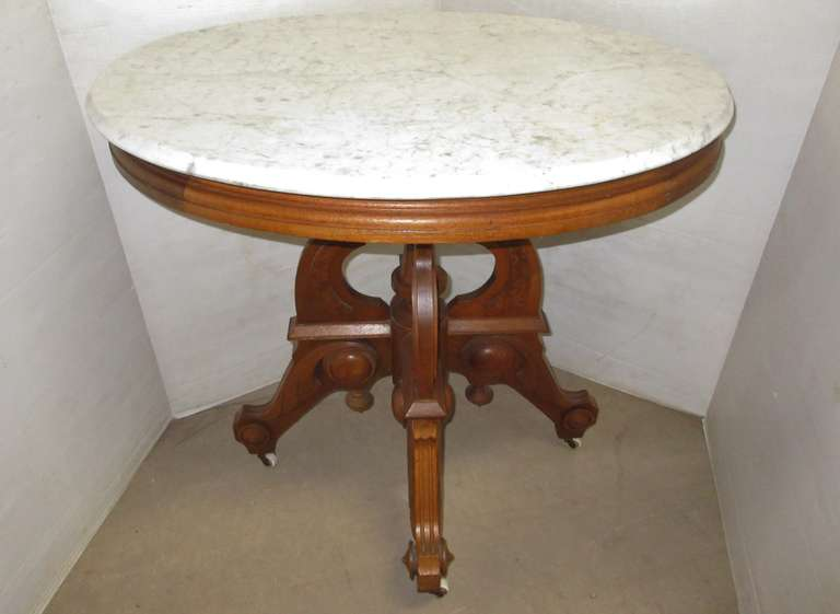 Antique Marble Top Table, Possibly Oak