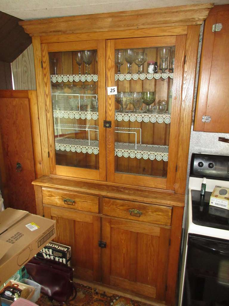 Antique Ash/Oak Two-Piece Kitchen Cabinet with Contents, Top Crown was Added, Cabinet on the Left Side that was Attached with Nails, Buyers Responsibility to Take Apart, Detach, and Move, Bring Some Tools
