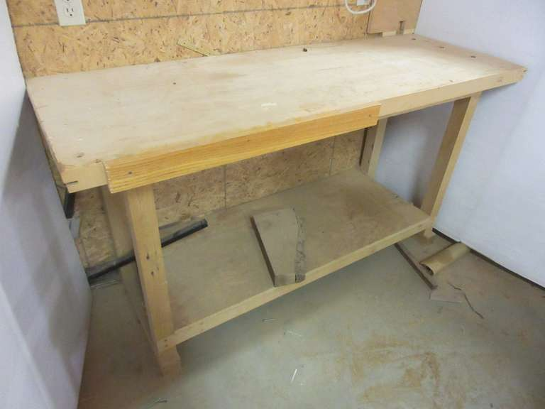 "Hand Crafted bu James Jay Wooden Shop Table with Bottom Shelf, 64"" x 23"" x 34"" x 2"" thick top"