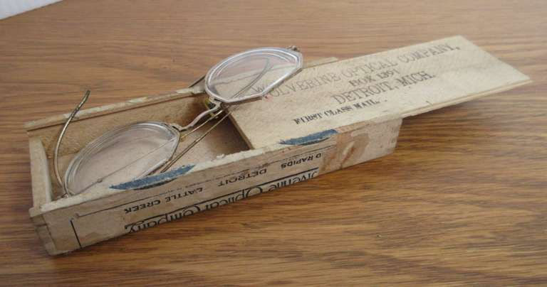 Pair of Antique Specs in Wolverine Optical Wooden Box, Detroit
