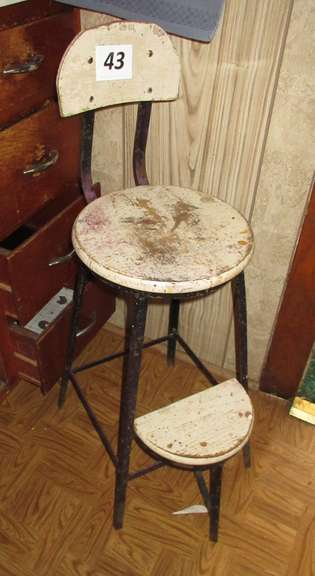 "Antique Stool with Flip Up Footrest, 34""H"