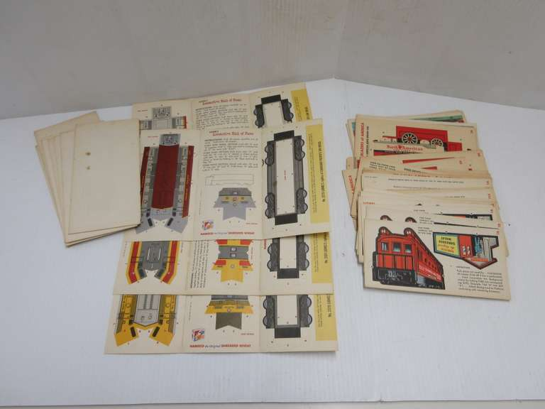 "(14) 1957 Lionel Tri-Fold Cut Out Trains, Made by Nabisco Shredded Wheat Plus (45) Single 3 3/4"" x 7 1/4"" Lionel Train-O-Rama Cut Outs by Nabisco"
