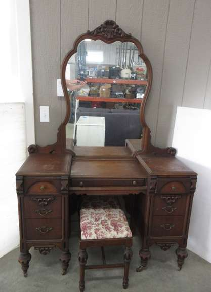 Antique Dresser with Mirror and Bench
