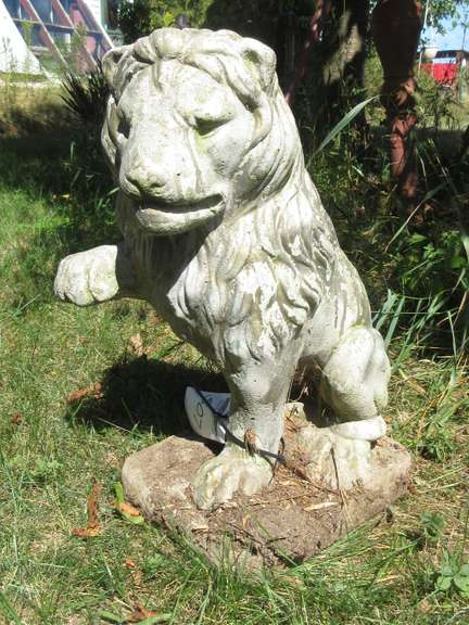 Pair of Cement Driveway Lions (Left and Right), 2'H