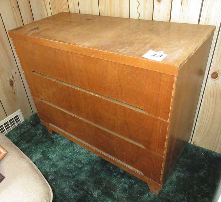 "1960s Walnut Dresser with Three Drawers, 40""W x 18""D x 33""H, Finish is Worn"