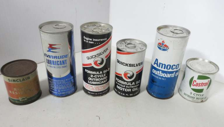 (5) Outboard Oil Cans, Full; Sinclair Rust Resistor, Full