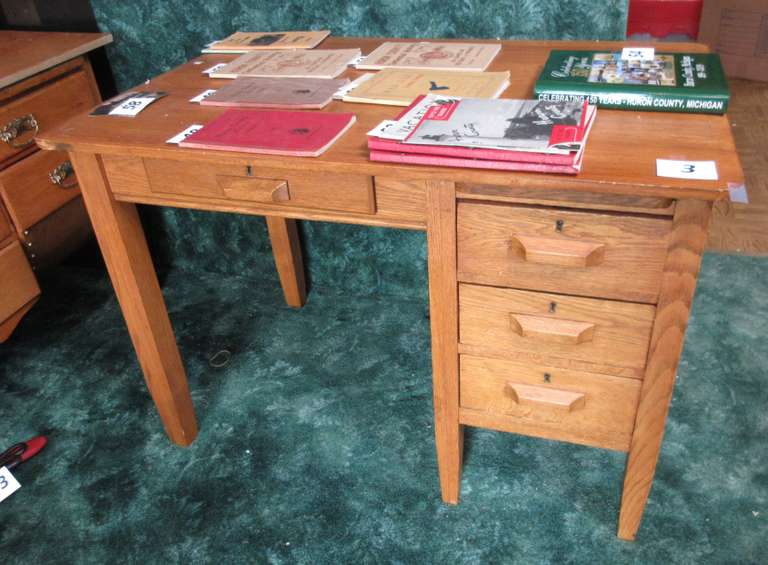 "Antique Oak Desk, 42""W x 28""D x 29""H, Other Items in Picture are Not Included"