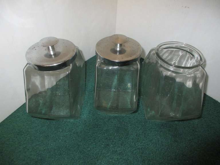 "(3) Old Candy Jars, 8"" x 8"", One is Missing a Lid"