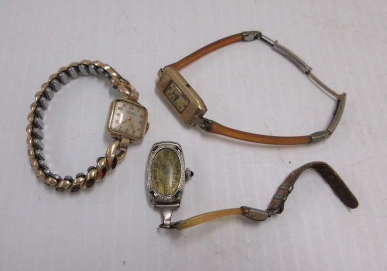 (3) Antique Gruen Ladies Watches: 1- Has Gold with Ruby Stones Stretch Band, is Self Winding and Working; 2- are Not Working and are As Is