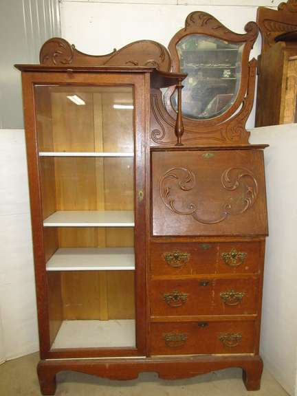 Antique Oak Wood Side-By-Side Secretary with Drawers