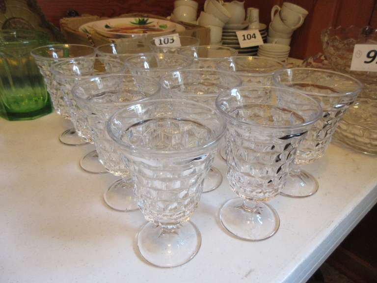 "(12) Clear Fostoria American 5 1/2"" Low Water Goblets"