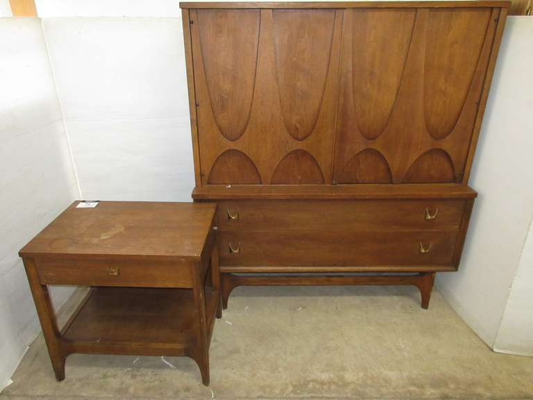 Broyhill Dresser with End Table, Walnut with Solid Oak Dovetailed Drawers, Back of Dresser is Stamped 1962