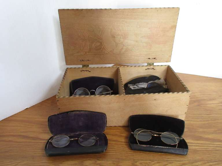 (8) Pairs of Antique Specs in Wood Box