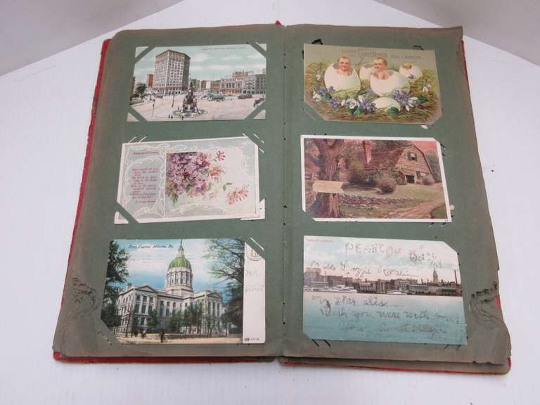 Old Post Card Album Full of Cards, Including: Scenes from Ortonville, Saginaw, Alpena, Standish, Belding, Lakeview, Detroit, Post Marks Back to 1908, 113 Cards Total
