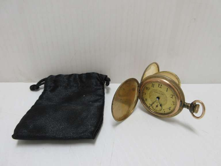 "Antique Vallon Pocket Watch in Gold Filled Hunting Case, No Crystal, Not Running, 1 5/8""Dia"