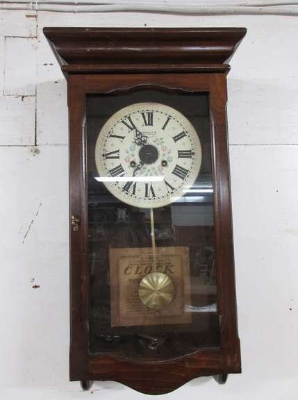 New England 14-Day Cathedral Song Spring Wound Regulator Clock with Keys, Registered Serial No. 8504907